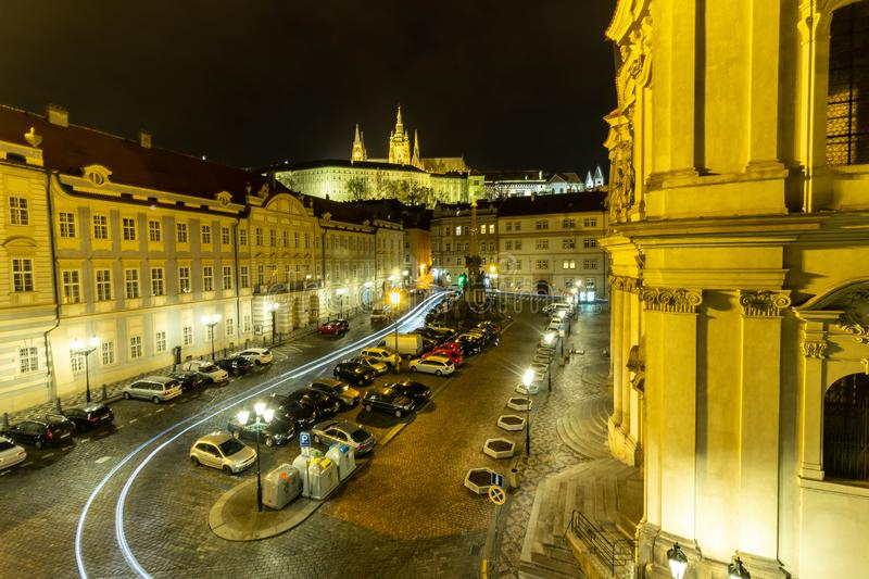 Night photo praga building old town history travel nice view stock images