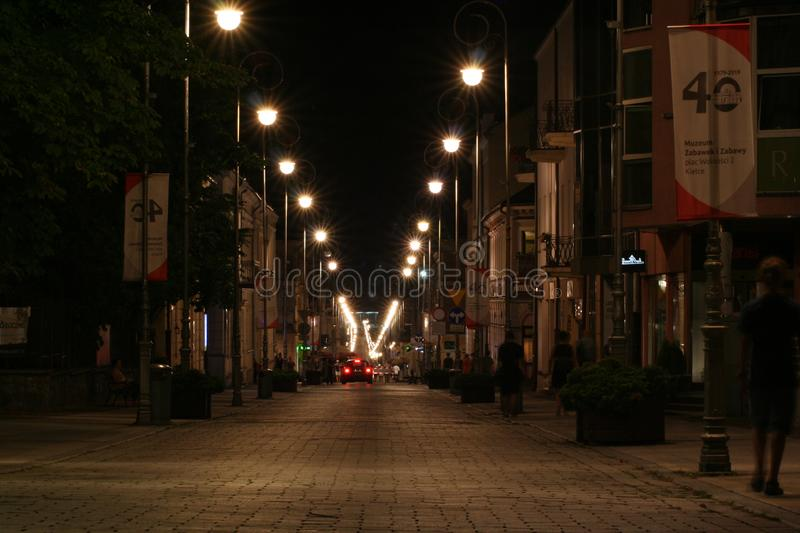 Night photo of Sienkiewicza street. The city of Kielce in Poland.. stock photos