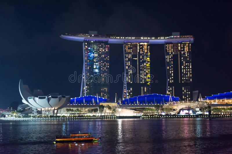 Night Photo of Singapore Marina Bay Sands hotel and River, Singapore, April 14, 2018 royalty free stock photos