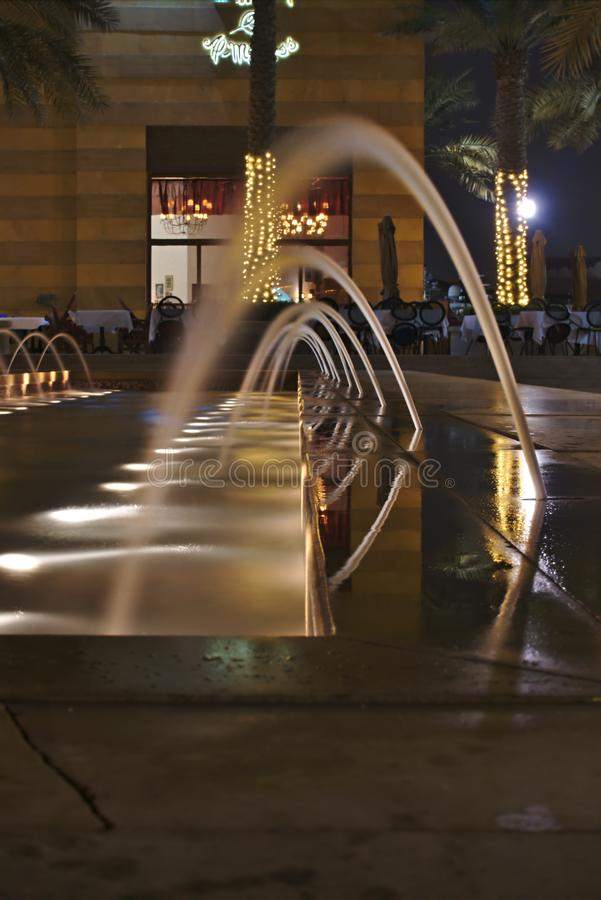 Night photography of a fountain, at the Pearl, Doha Qatar. stock image