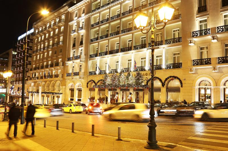 Night photography of Grande Bretagne hotel Athens Greece with Christmas decorative lights royalty free stock image