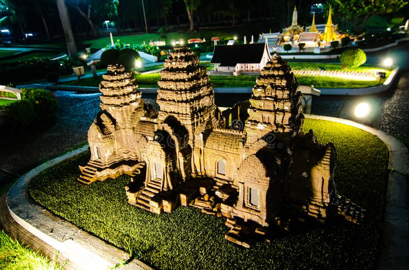 Night photography of the Phra prang sam yot lopburi at miniature park is an open space that displays miniature buildings. PATTAYA CITY, CHONBURI PROVINCE stock images