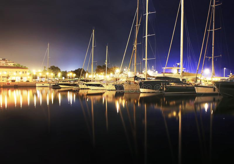 Night photography of sailboats Alimos Greece stock images