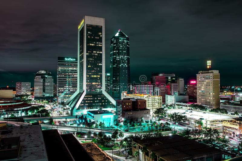 Jacksonville Florida at Night with skyline. A night photography shot of the in Jacksonville Florida royalty free stock photo