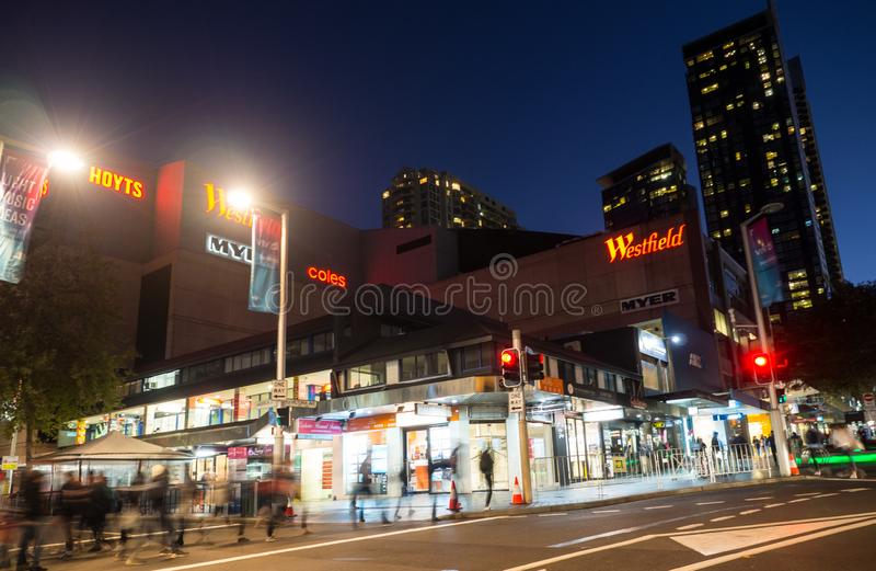 Night photography of Westfield is a large indoor shopping centre in the suburb of Chatswood in the lower North Shore of Sydney. stock image