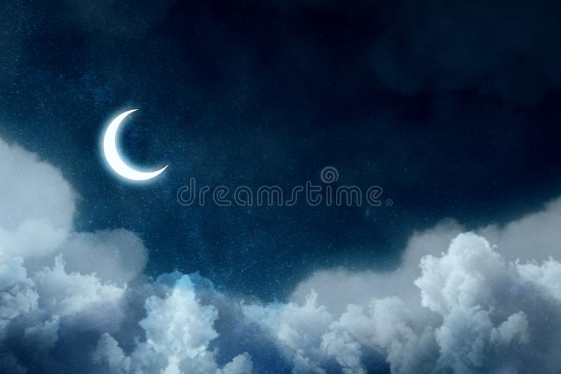 Night picture with bright moon above clouds at starry sky royalty free illustration