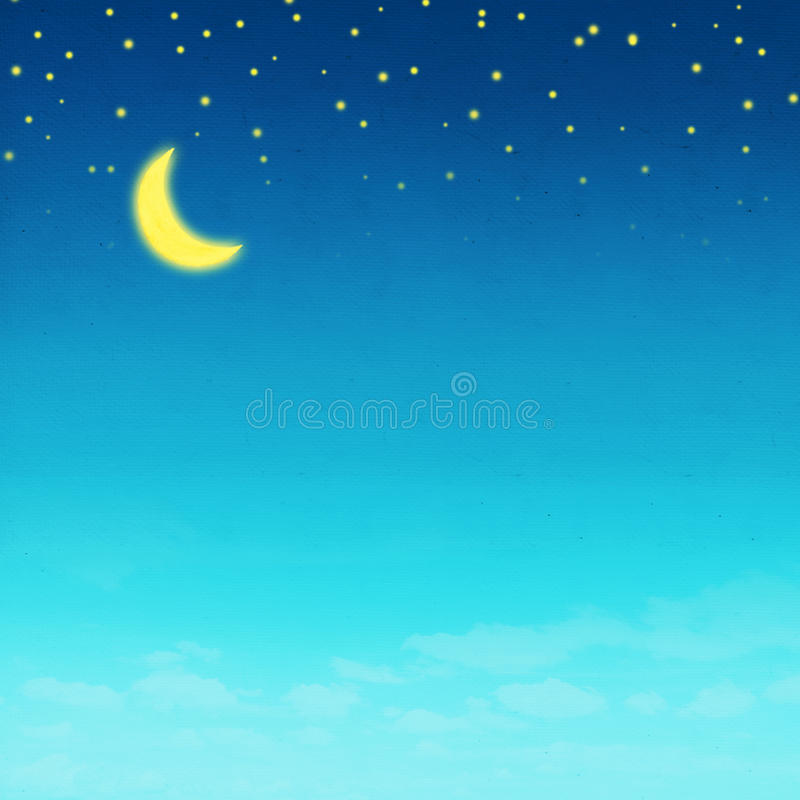 Night picture drawing on paper stock illustration