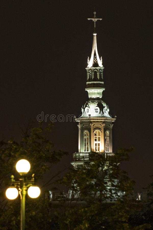 Night picture of famous church in Quebec City Canada stock photography