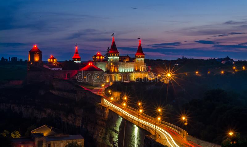 Night picture of Kamianets-Podilsky castle. Long exposure night picture of Kamianets-Podilsky castle in Ukraine. Sightseeing in Ukraine royalty free stock photography