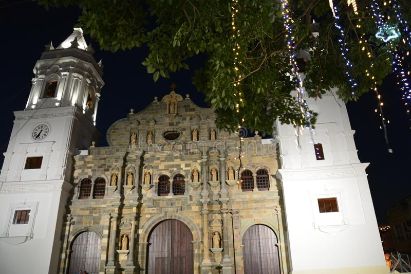 Panama Old Town casco Viejo in Panamá at night. Night picture of the main cathedral of Panamá in the old part of the city called casco Viejo with christmas stock images