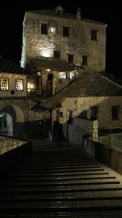 Night picture of Old Bridge in Mostar. Photo taken on the bridge. Bosnia and Herzegovina stock photography