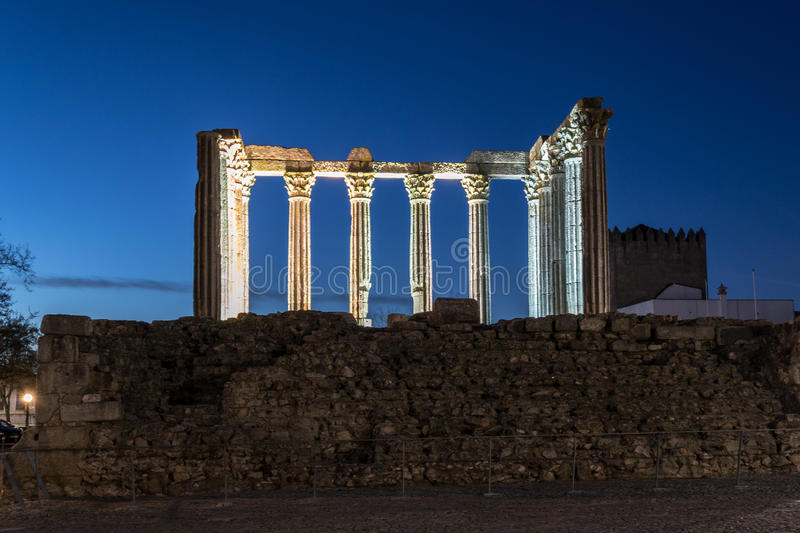 Night picture of the roman temple of Evora (Portugal). stock photos