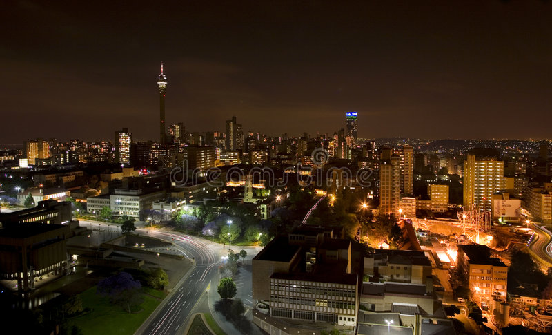 The night piece of city in Johannesburg stock photography