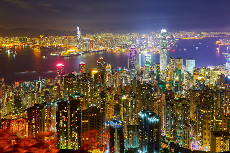 The night piece of Hongkong. The photo was taken in Kowloon Hongkong, China royalty free stock image