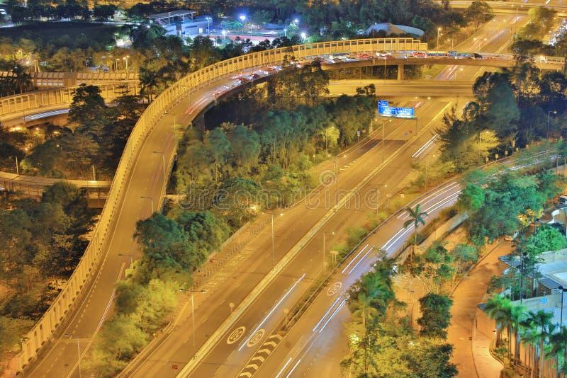 The night of Po Shun Road at TKO. View of Po Shun Road at Tseung Kwan O stock image