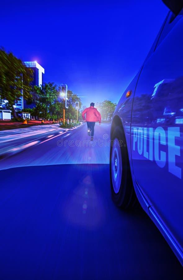 Night police emergency stock photo