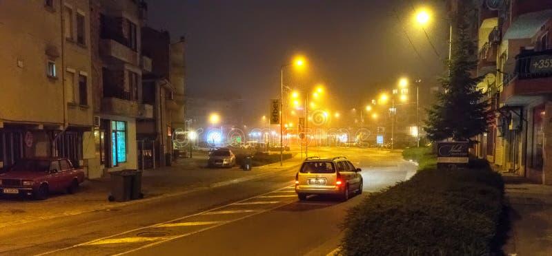 Night. Pomorie. Fog. Bulgaria royalty free stock photos