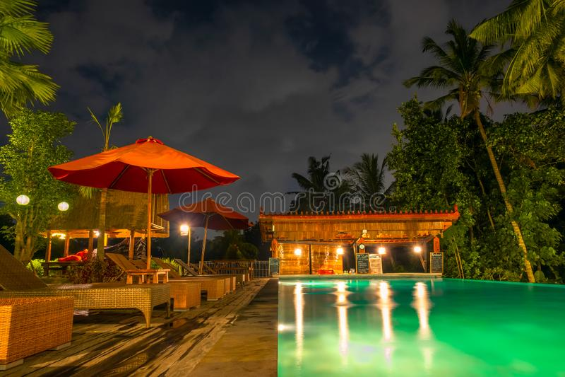 Night Pool in the Rainforest royalty free stock images