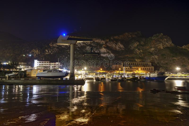 Night on the port of Buggerru along the South West coast of Sardinia. royalty free stock images