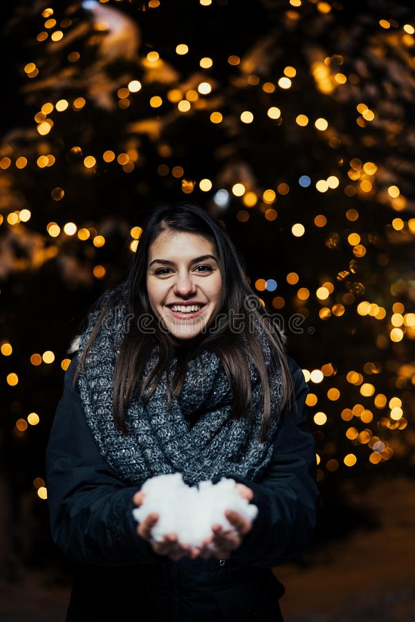 Night portrait of a beautiful brunette woman smiling enjoying winter in park.Winter joy.Winter holidays.Positive emotions. Happiness stock photo