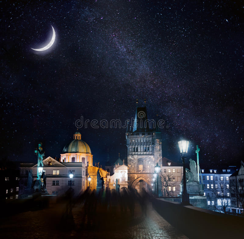 Night Prague. Night cityscape of Prague touristic view with Charles Bridges stock images