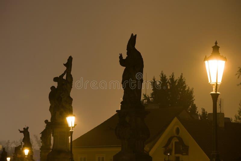 Night Prague fog stock photos