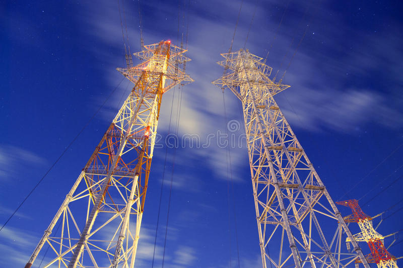 Download Night pylons stock image. Image of hang, city, pylon - 26264243