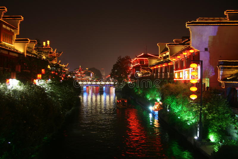 Night of QinHuai river royalty free stock photos