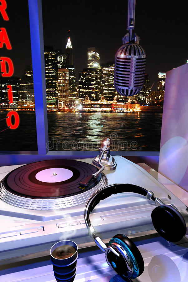 Download Night radio stock vector. Image of host, micro, commentator - 19163744