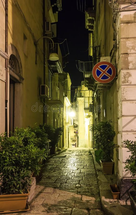 Night Ragusa town street view, Sicily, Italy royalty free stock images