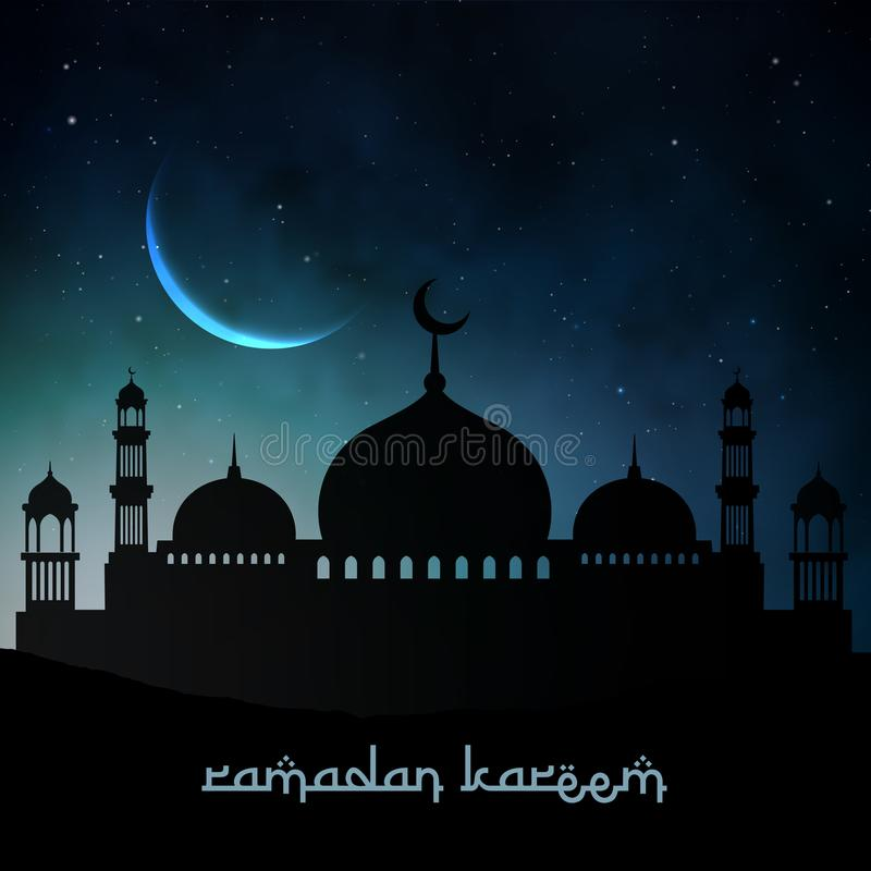 Night ramadan kareem background image. stock illustration