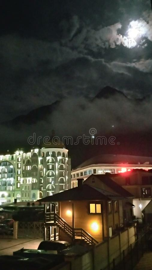 Night in Red Glade. Sochi, Russia. royalty free stock photos