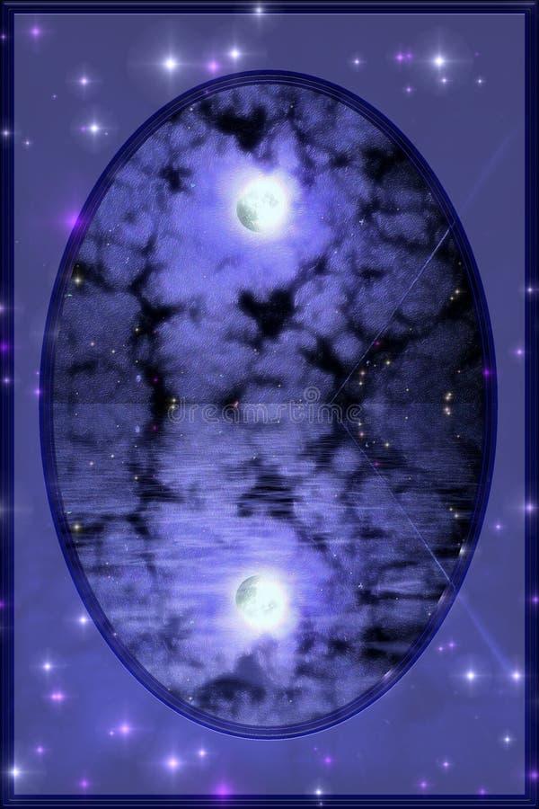 Night reflections of full moon royalty free stock photo