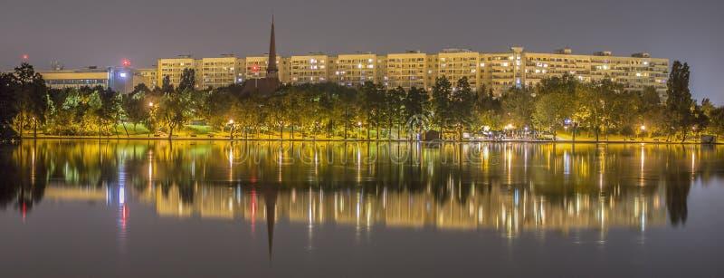 Night Reflections. Night view at Alexandru Ioan Cuza Park - Bucharest, Romania stock photography