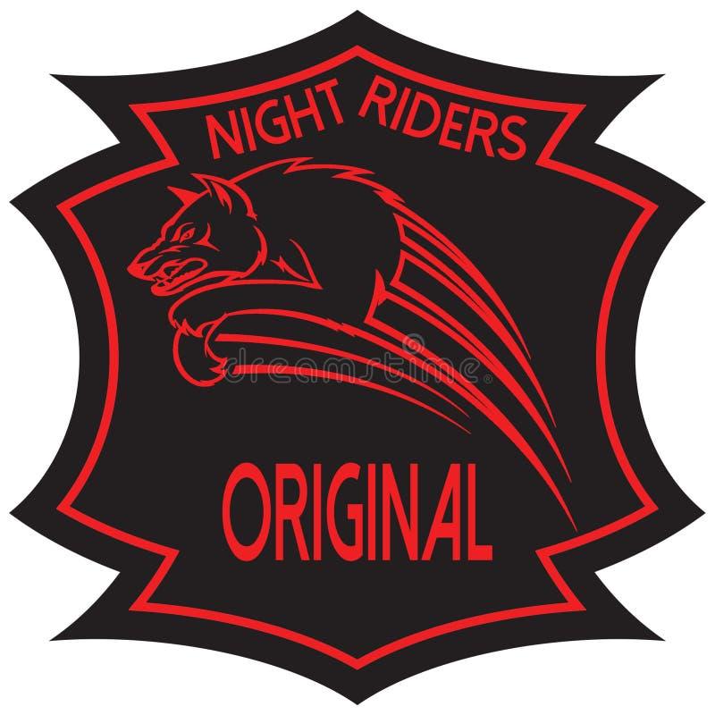 Night Riders Original. Vector project team of night riders wolf jumping royalty free illustration