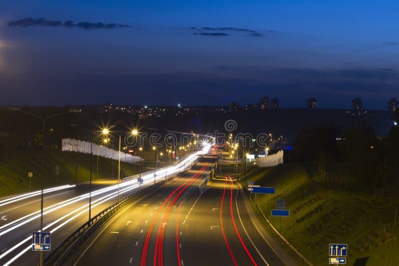 Night road. City traffic, lights stock photos