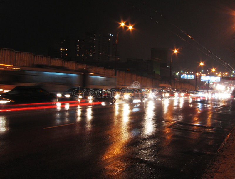 Night road. Night scene- perpetual Motion on road royalty free stock photography