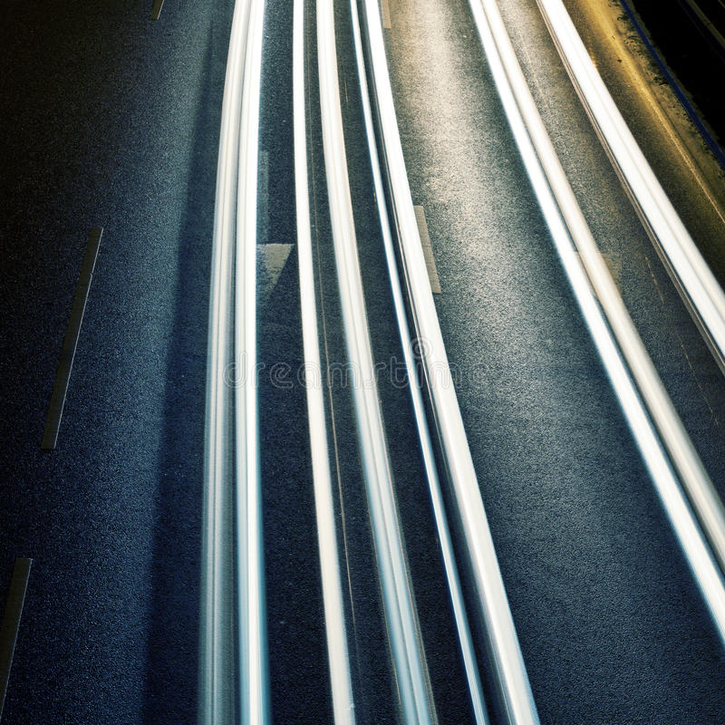 Night road. With car lights traces royalty free stock photos