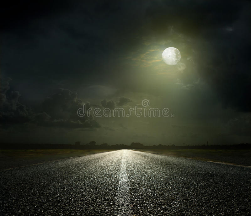 Night Road. And moonlight royalty free stock photo