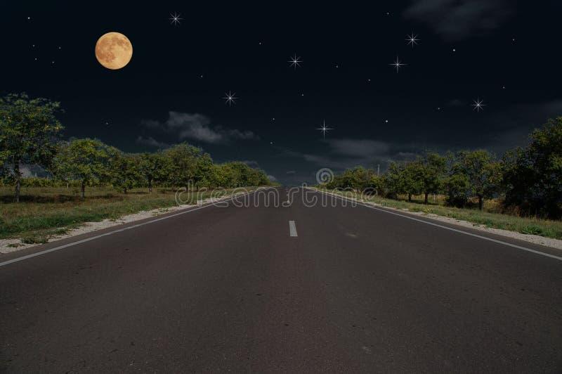 Night road. And full moon royalty free stock photos