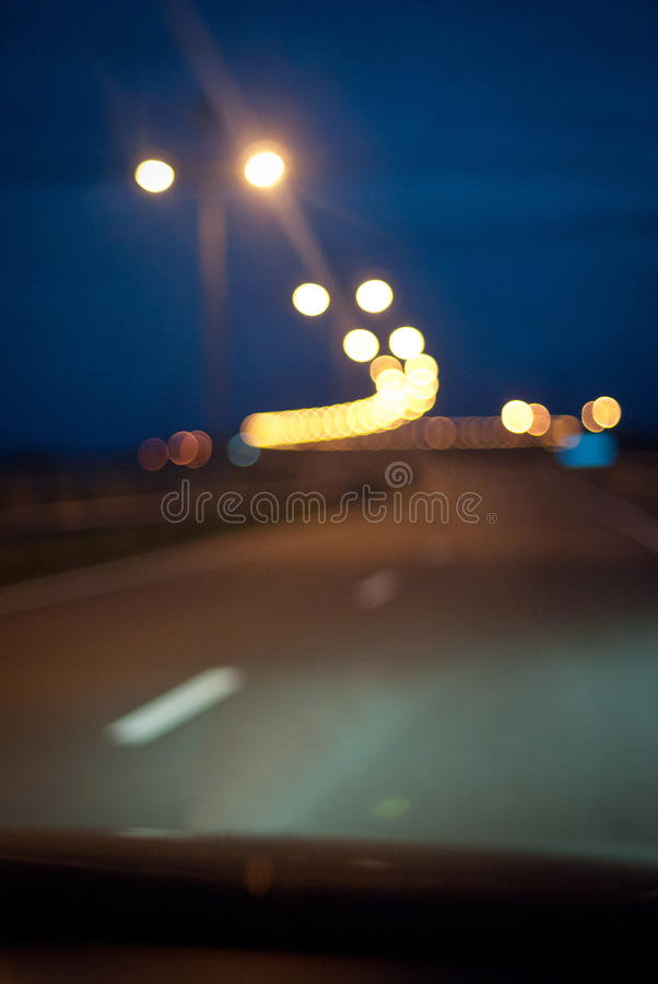 The night road in the city stock photos
