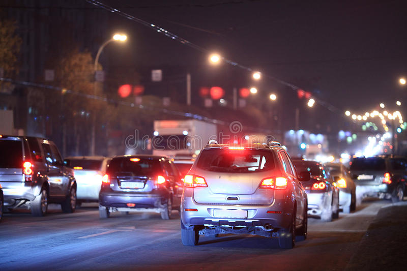 Night road in the city. Of lights cars traffic jams royalty free stock image