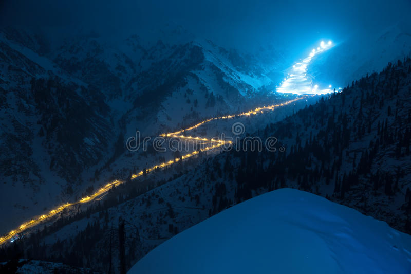 Night Road in mountains stock photos
