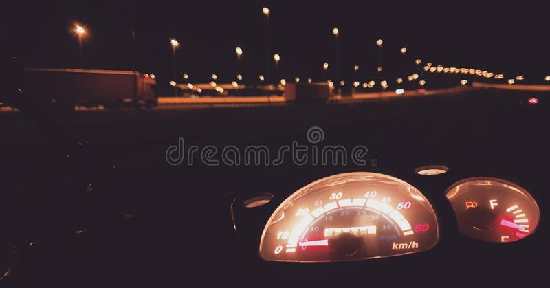 Night Road. Motocykle, motorcycle, cars, view royalty free stock photography