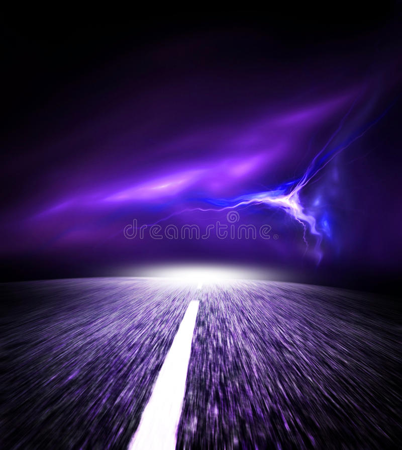Download Night Road. Sky With Flash. Stock Photo - Image: 24702876