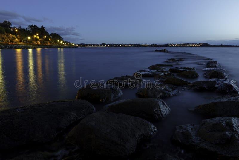 Night road of stone stock photos