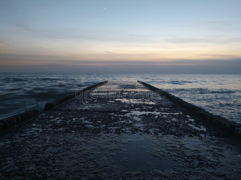 night road to the sea stock photo