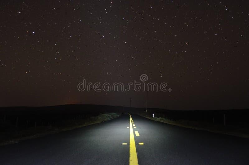 Night Road. Under the stars stock photos
