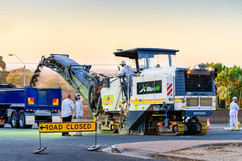 Night road works in Adelaide stock photography