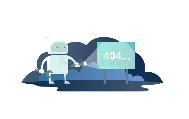 Night robot with flashlight in space signboard 404 error. cute Illustration for error page 404 not found royalty free illustration